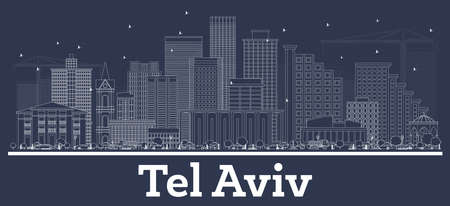 Outline Tel Aviv Israel City Skyline with White Buildings. Vector Illustration. Business Travel and Tourism Concept with Modern Architecture. Tel Aviv Cityscape with Landmarks.