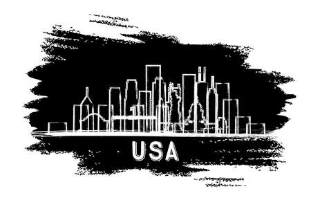 USA City Skyline Silhouette. Hand Drawn Sketch. Vector Illustration. Business Travel and Tourism Concept with Historic Architecture. USA Cityscape with Landmarks. 일러스트