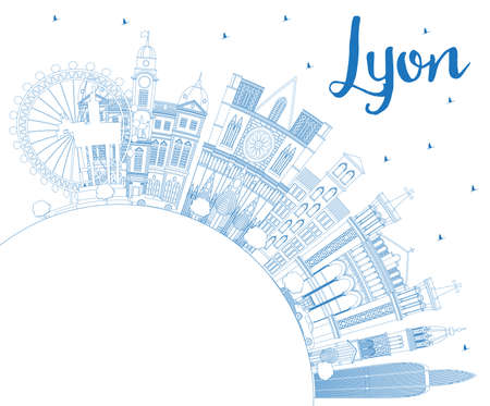 Outline Lyon France City Skyline with Blue Buildings and Copy Space. Vector Illustration. Business Travel and Tourism Concept with Historic Architecture. Lyon Cityscape with Landmarks.