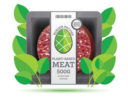 Burger Patties z mięsa na bazie roślin w pakiecie na białym tle. Koncepcja wegańska. Ilustracja wektorowa.