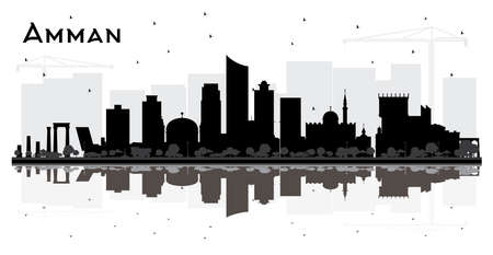 Amman Jordanie City Skyline Silhouette avec bâtiments noirs et réflexions isolés sur blanc. Illustration vectorielle. Concept de voyage d'affaires et de tourisme. Paysage urbain d'Amman avec des points de repère.