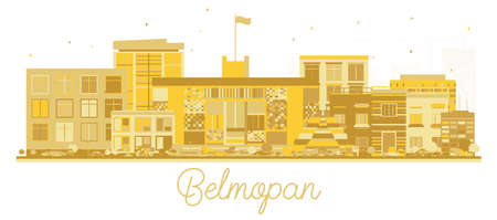 Belmopan Belize City Skyline Silhouette with Golden Buildings Isolated on White. Vector Illustration. Business Travel and Tourism Concept with Historic Architecture. Belmopan Cityscape with Landmarks. Vetores