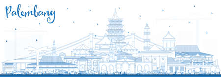Outline Palembang Indonesia City Skyline with Blue Buildings. Vector Illustration. Business Travel and Tourism Concept with Historic Architecture. Palembang Cityscape with Landmarks.