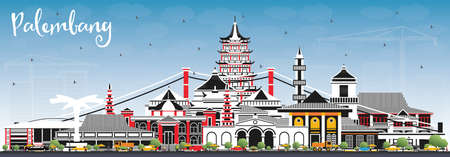 Palembang Indonesia City Skyline with Gray Buildings and Blue Sky. Vector Illustration. Business Travel and Tourism Concept with Historic Architecture. Palembang Cityscape with Landmarks.
