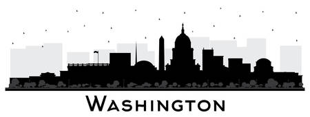 Washington DC USA City Skyline Silhouette with Black Buildings Isolated on White. Vector Illustration. Business Travel and Tourism Concept with Historic Buildings. Washington DC Cityscape with Landmarks.