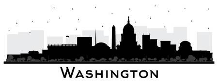 Washington DC USA skyline della città Silhouette con edifici neri isolati su bianco. Illustrazione di vettore. Viaggi d'affari e concetto di turismo con edifici storici. Paesaggio urbano di Washington DC con punti di riferimento. Vettoriali