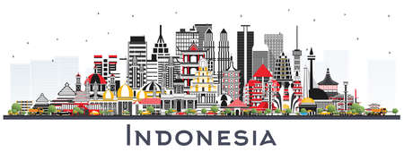 Indonesia Cities Skyline with Gray Buildings Isolated on White. Vector Illustration. Tourism Concept with Historic Architecture. Indonesia Cityscape with Landmarks. Jakarta. Surabaya. Bekasi. Bandung.