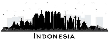 Indonesia Cities Skyline Silhouette with Black Buildings Isolated on White. Vector Illustration. Tourism Concept with Historic Architecture. Indonesia Cityscape with Landmarks. Jakarta. Surabaya. Bekasi. Bandung.