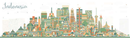 Indonesia Cities Skyline with Color Buildings. Vector Illustration. Tourism Concept with Historic Architecture. Indonesia Cityscape with Landmarks. Jakarta. Surabaya. Bekasi. Bandung.