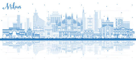 Outline Milan Italy City Skyline with Blue Buildings and Reflections. Vector Illustration. Business Travel and Tourism Concept with Historic Architecture. Milan Cityscape with Landmarks.