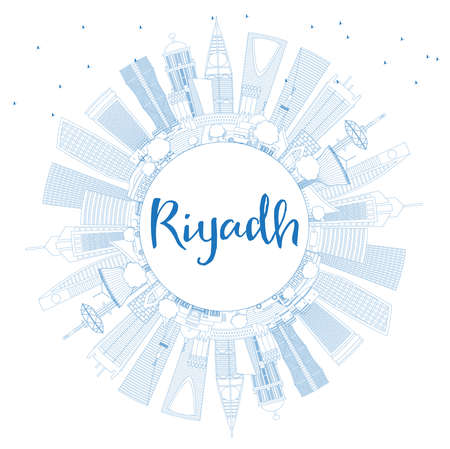 Outline Riyadh Saudi Arabia City Skyline with Blue Buildings and Copy Space. Vector Illustration. Business Travel and Tourism Concept with Modern Architecture. Riyadh Cityscape with Landmarks.