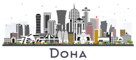Skyline von Doha Katar mit Farbe Gebäude isoliert auf weiss. Vektor-Illustration. Geschäftsreise- und Tourismuskonzept mit moderner Architektur. Doha-Stadtbild mit Sehenswürdigkeiten.