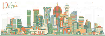 Doha Qatar City Skyline with Color Buildings. Vector Illustration. Business Travel and Tourism Concept with Modern Architecture. Doha Cityscape with Landmarks.
