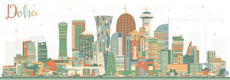 Horizon de ville de Doha Qatar avec des bâtiments de couleur Illustration vectorielle. Concept de voyage d'affaires et de tourisme à l'architecture moderne. Paysage urbain de Doha avec des points de repère.