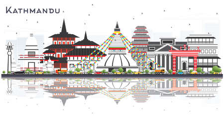 Kathmandu Nepal Skyline with Gray Buildings and Reflections Isolated on White. Vector Illustration. Business Travel and Tourism Concept with Historic Architecture. Kathmandu Cityscape with Landmarks.