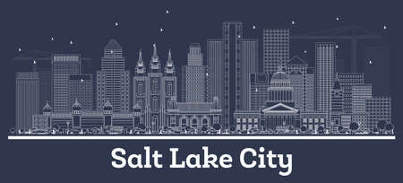 Outline Salt Lake City Utah City Skyline with White Buildings. Vector Illustration. Business Travel and Tourism Concept with Modern Architecture. Salt Lake City USA Cityscape with Landmarks.