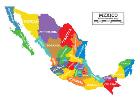 Administrative Mexico Map Isolated on White Background. Vector Illustration. Illustration