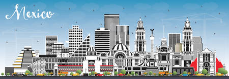 Mexico City Skyline with Gray Buildings and Blue Sky. Vector Illustration. Business Travel and Tourism Concept with Historic Architecture. Mexico Cityscape with Landmarks.