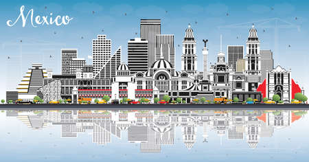 Mexico City Skyline with Gray Buildings, Blue Sky and Reflections. Vector Illustration. Business Travel and Tourism Concept with Historic Architecture. Mexico Cityscape with Landmarks.