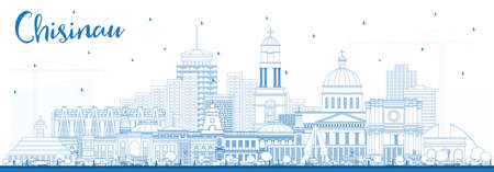 Outline Chisinau Moldova City Skyline with Blue Buildings. Vector Illustration. Business Travel and Tourism Concept with Historic Architecture. Chisinau Cityscape with Landmarks.