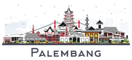 Palembang Indonesia City Skyline with Gray Buildings Isolated on White. Vector Illustration. Business Travel and Tourism Concept with Historic Architecture. Palembang Cityscape with Landmarks.
