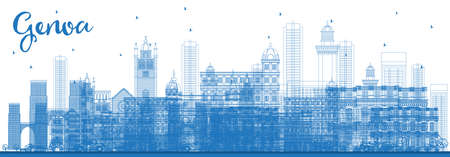 Outline Genoa Italy City Skyline with Blue Buildings. Vector Illustration. Business Travel and Tourism Concept with Modern Architecture. Genoa Cityscape with Landmarks. Ilustrace