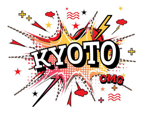 Kyoto Comic Text in Pop Art Style Isolated on White Background. Vector Illustration.
