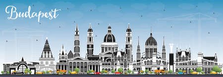 Budapest Hungary City Skyline with Gray Buildings and Blue Sky. Vector Illustration. Business Travel and Tourism Concept with Historic Architecture. Budapest Cityscape with Landmarks. Illusztráció