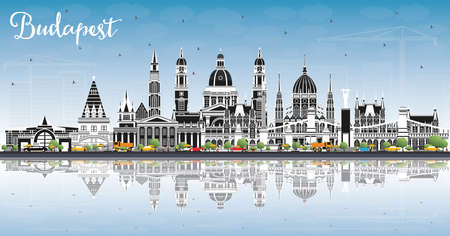 Budapest Hungary City Skyline with Gray Buildings, Blue Sky and Reflections. Vector Illustration. Business Travel and Tourism Concept with Historic Architecture. Budapest Cityscape with Landmarks.