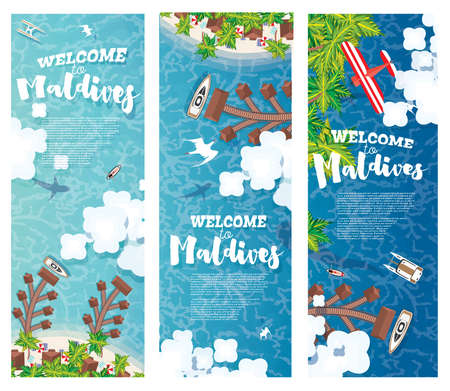 Maldives Beach on Island. Vertical Banners Set. Summer Background with Tropical Beach, Palms, Hotel, Clouds and Airplane. Aerial View. Vector Illustration.  イラスト・ベクター素材