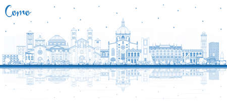 Outline Como Italy City Skyline with Blue Buildings and Reflections. Vector Illustration. Business Travel and Concept with Historic Architecture. Como Cityscape with Landmarks.