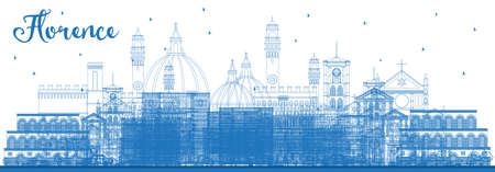 Outline Florence Italy City Skyline with Blue Buildings. Vector Illustration. Business Travel and Tourism Concept with Modern Architecture. Florence Cityscape with Landmarks.