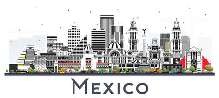 Mexico City Skyline with Gray Buildings Isolated on White. Vector Illustration. Business Travel and Tourism Concept with Historic Architecture. Mexico Cityscape with Landmarks.