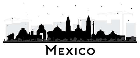 Mexico City Skyline Silhouette with Black Buildings Isolated on White. Vector Illustration. Business Travel and Tourism Concept with Historic Architecture. Mexico Cityscape with Landmarks.