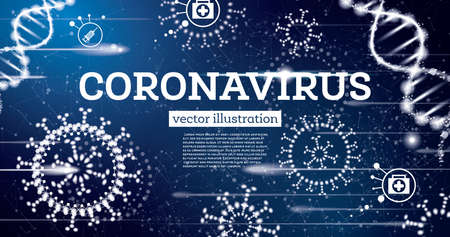 Coronavirus Influenza. Medical Concept on Blue Background. Vector Illustration.