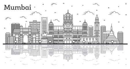 Outline Mumbai India City Skyline with Historic Buildings and Reflections Isolated on White. Vector Illustration. Bombay Cityscape with Landmarks. Vetores