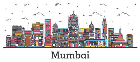 Outline Mumbai India City Skyline with Color Buildings Isolated on White. Vector Illustration. Bombay Cityscape with Landmarks.