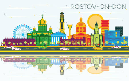 Rostov-on-Don Russia City Skyline with Color Buildings, Blue Sky and Reflections. Vector Illustration. Business and Tourism Concept with Modern Architecture. Rostov-on-Don Cityscape with Landmarks. Vektorové ilustrace