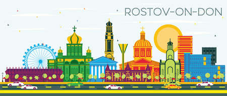 Rostov-on-Don Russia City Skyline with Color Buildings and Blue Sky. Vector Illustration. Business Travel and Tourism Concept with Modern Architecture. Rostov-on-Don Cityscape with Landmarks.