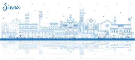 Orizzonte di contorno Siena Toscana Italia città con edifici blu e riflessi. Illustrazione di vettore. Viaggi d'affari e concetto con architettura storica. Paesaggio urbano di Siena con punti di riferimento.