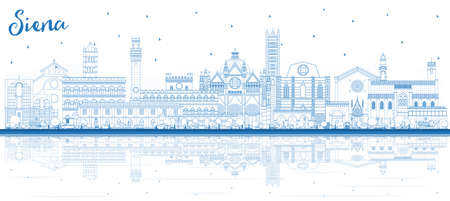 Outline Siena Tuscany Italy City Skyline with Blue Buildings and Reflections. Vector Illustration. Business Travel and Concept with Historic Architecture. Siena Cityscape with Landmarks.
