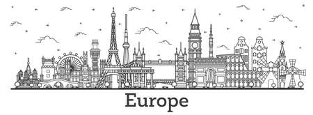 Outline Famous Landmarks in Europe. Vector Illustration. Business Travel and Tourism Concept. Image for Presentation, Banner, Placard and Web Site. London. Paris. Berlin. Moscow.