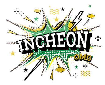 Incheon Comic Text in Pop Art Style Isolated on White Background. Vector Illustration. Illusztráció