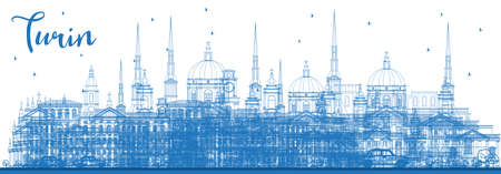 Outline Turin Italy City Skyline with Blue Buildings. Vector Illustration. Business Travel and Tourism Concept with Modern Architecture. Turin Cityscape with Landmarks.