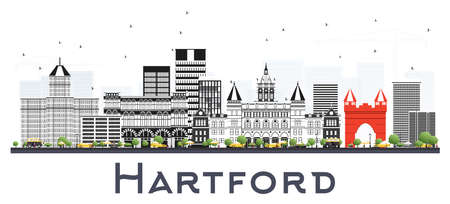 Hartford Connecticut City Skyline with Gray Buildings Isolated on White. Vector Illustration. Business Travel and Tourism Concept with Modern Architecture. Hartford Cityscape with Landmarks.