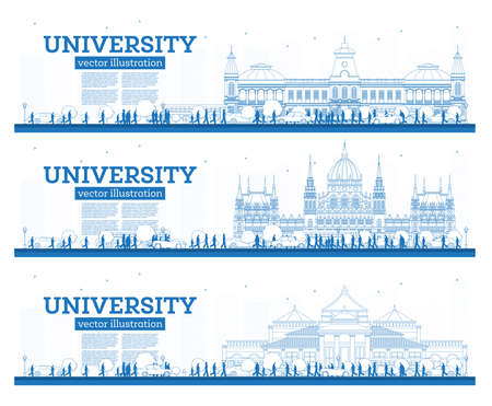 Outline Set of University Campus Study Banners. Vector Illustration. Students Go to the Main Building of University. Skyline with Blue Sky and Green Tree. Banner with Copy Space.