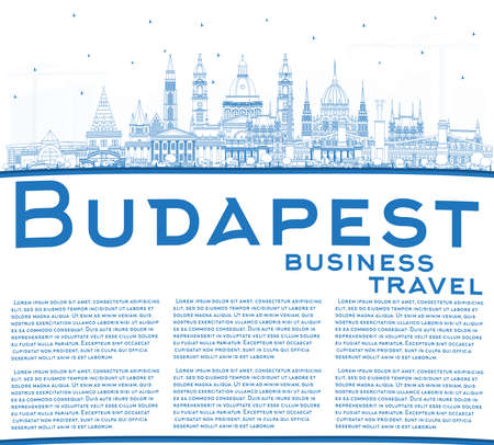 Outline Budapest Hungary City Skyline with Blue Buildings and Reflections. Vector Illustration. Business Travel and Tourism Concept with Historic Architecture. Budapest Cityscape with Landmarks. Illusztráció