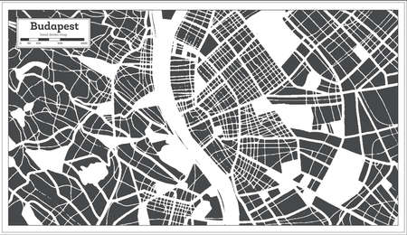 Budapest Hungary City Map in Retro Style. Outline Map. Vector Illustration. 向量圖像