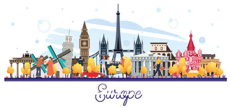 Famous Landmarks in Europe Isolated on White. Tourists Walking Near of Buildings. Vector Illustration. Business Travel and Tourism Concept. Image for Presentation, Banner, Placard and Web Site. Иллюстрация