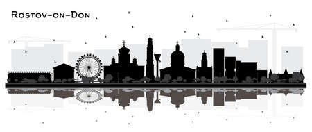 Rostov-on-Don Russia City Skyline Silhouette with Black Buildings and Reflections Isolated on White. Vector Illustration. Travel and Tourism Concept with Modern Architecture. Rostov-on-Don Cityscape with Landmarks.